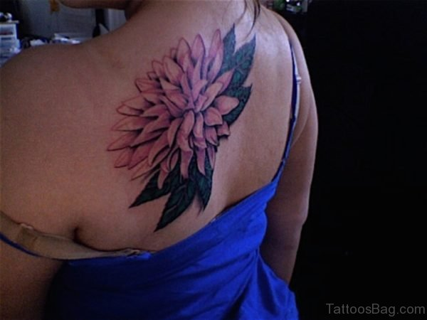 Dahlia Flower Tattoo Upper Back