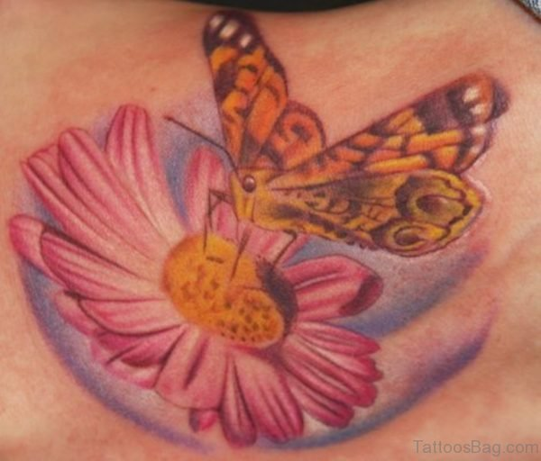 Daisy And Butterfly Tattoo