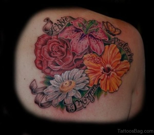 Daisy Flowers Tattoo  Design On Back