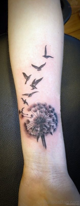Dandelion And Birds Tattoo On Wrist