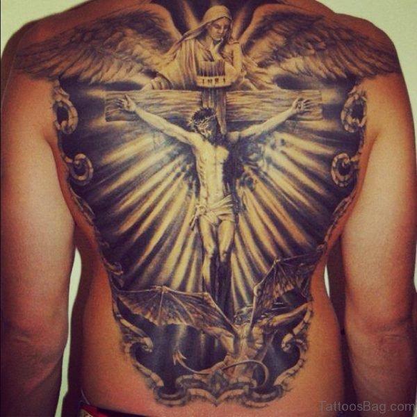 Dark Ink  Cross Tattoo On Full Back