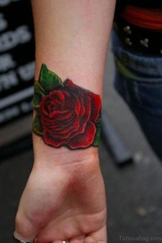 Dark Red Rose Tattoo On Wrist