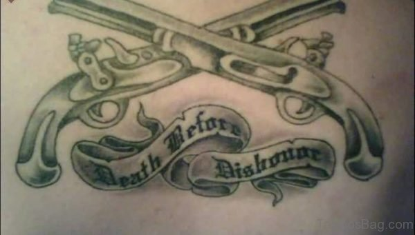 Wording And Gun Tattoo
