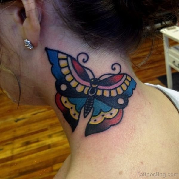 Decent Butterfly Tattoo On Neck