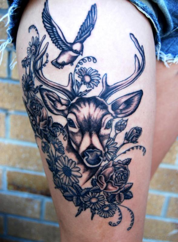 Deer And Owl Tattoo