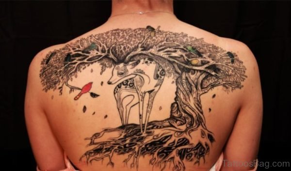 Deer Tattoo Design On Back