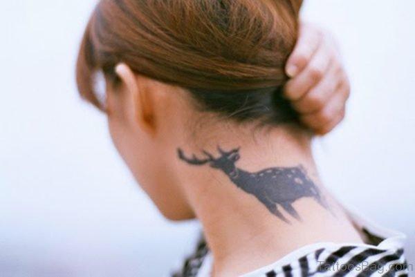 Deer Tattoo On Neck