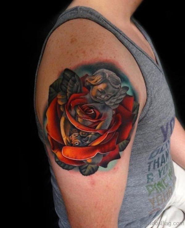 Designer Rose Angel Shoulder Tattoo