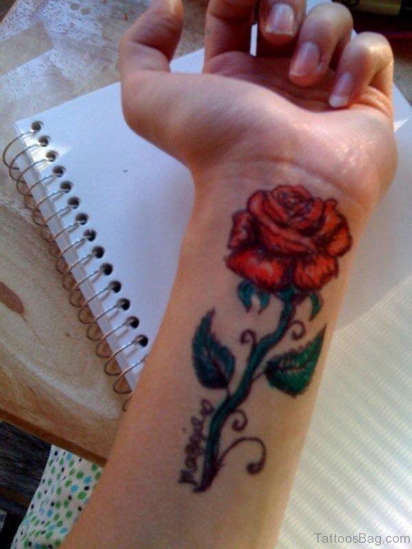 Designer red Rose Tattoo On Wrist