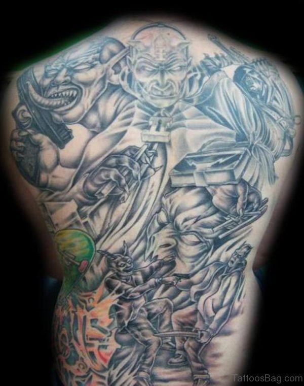 Devil Tattoo Design On Full Back