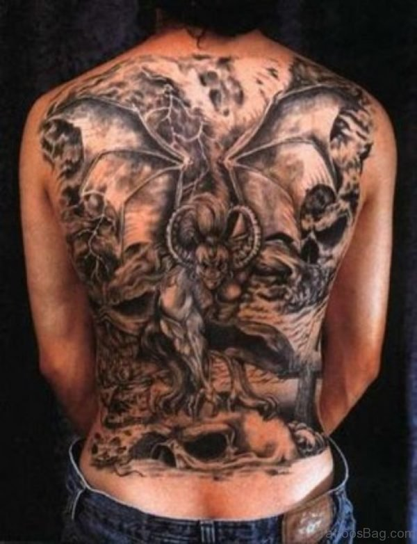 Devil Tattoo On Full Back