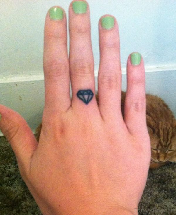 Diamond Tattoo Design On Finger