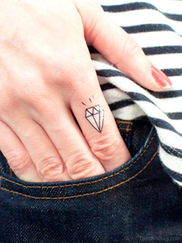 Diamond Tattoo Design On Finger