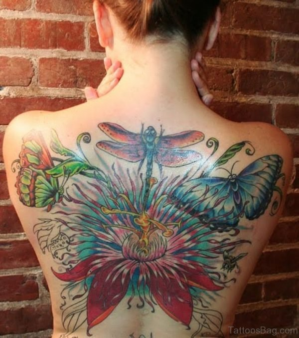 Dragonfly And Butterfly Tattoo On Back