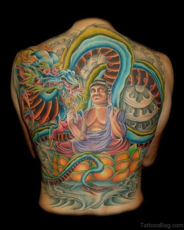 Dragon And Buddha Tattoo On Back