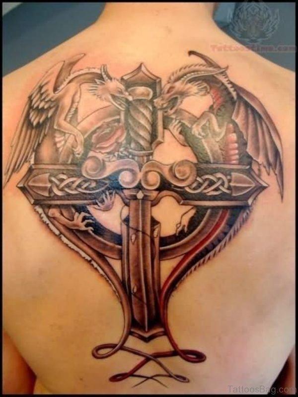 Dragon And  Cross Tattoo