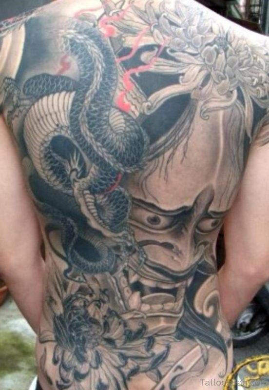 Dragon And Demon Tattoo On Full Back