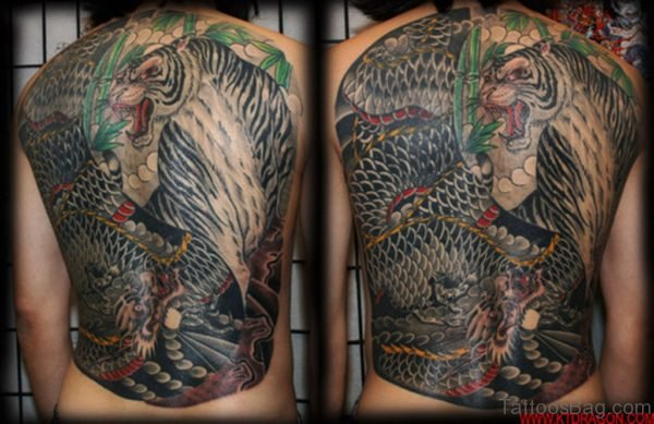 Dragon And Tiger Tattoo On full Back