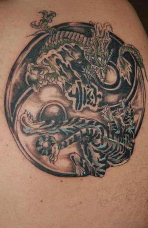 Dragon And Tiger Yin Yang Tattoo