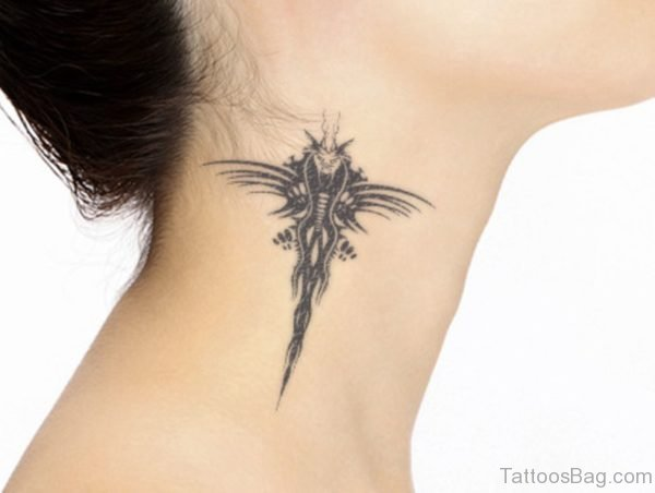 Dragon Fly Neck Tattoo