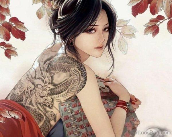 Dragon Tattoo Image On Full Back