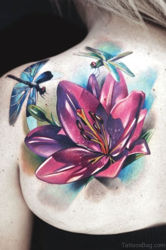 Dragonfly And Lotus Flower Tattoo