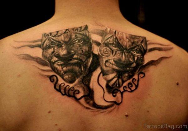 Drama Mask Tattoos On Back