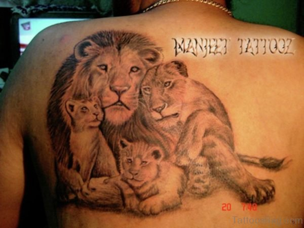 Dramatic Lion Family Tattoo
