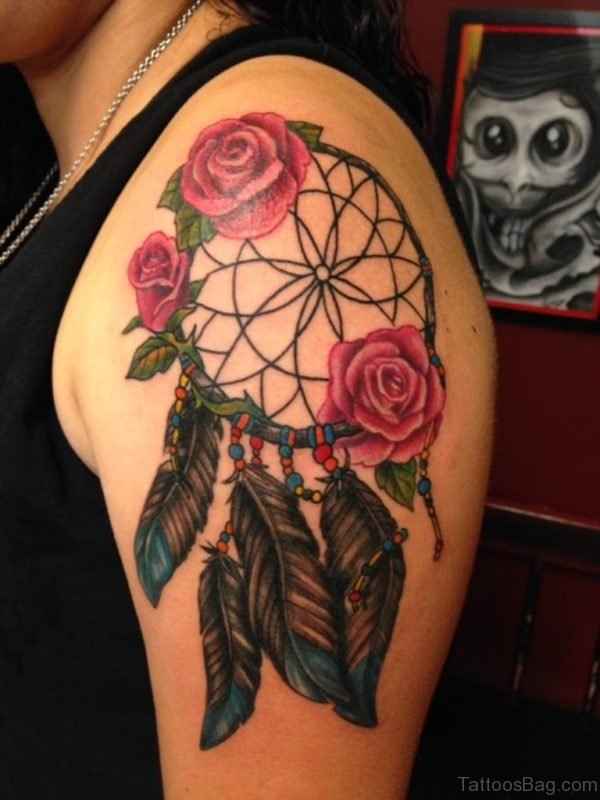 Dream Catcher And Rose Tattoo