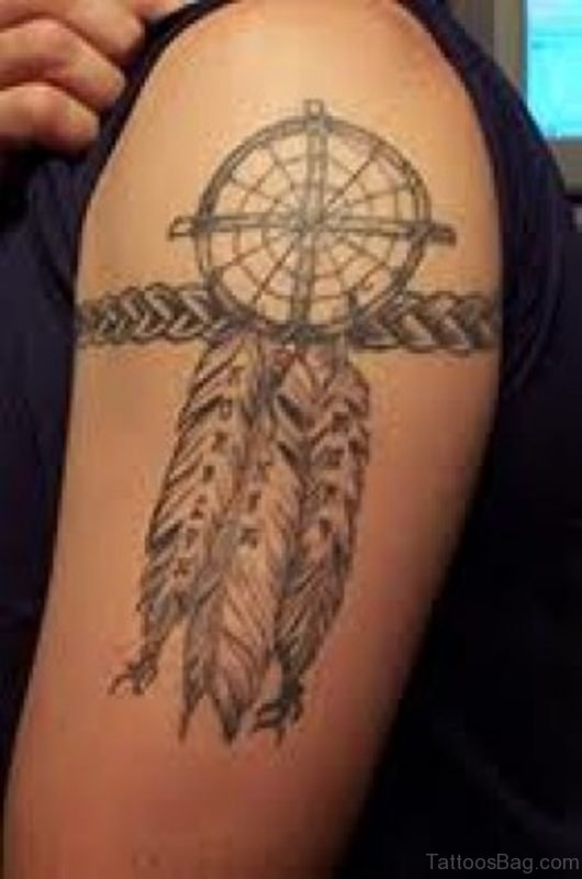 Dream Catcher Tattoo On Man Left Shoulder