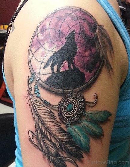 Dream Catcher Tattoo On Right Shoulder