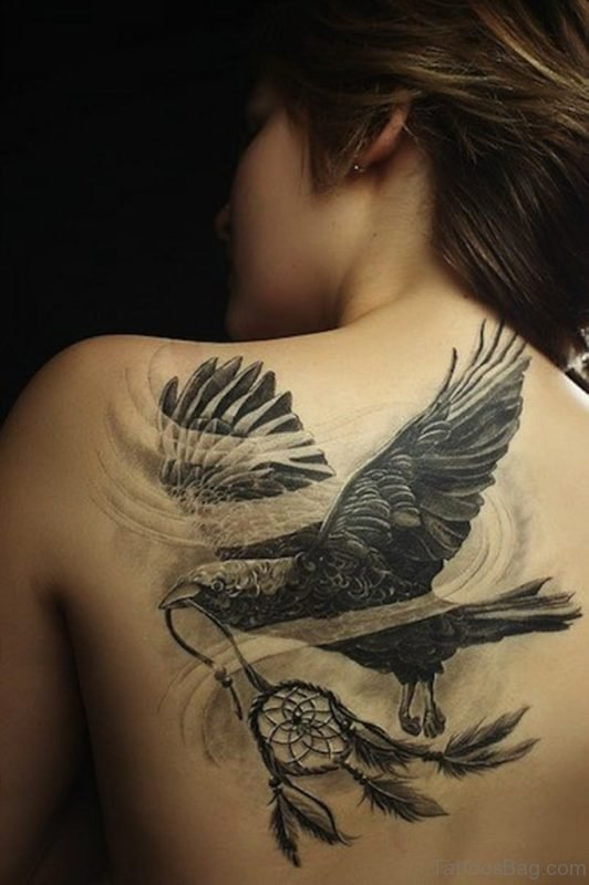 Dreamcatcher And Crow Tattoo