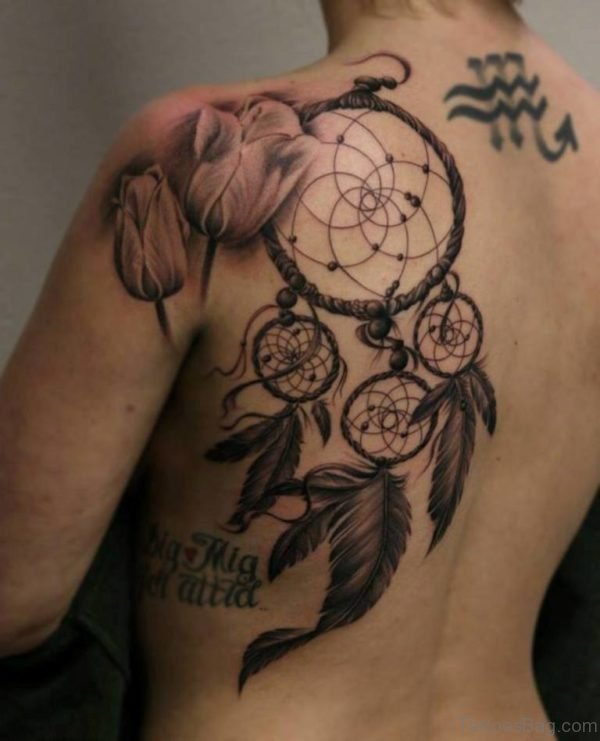 Dreamcatcher Tattoo Design On Side Back