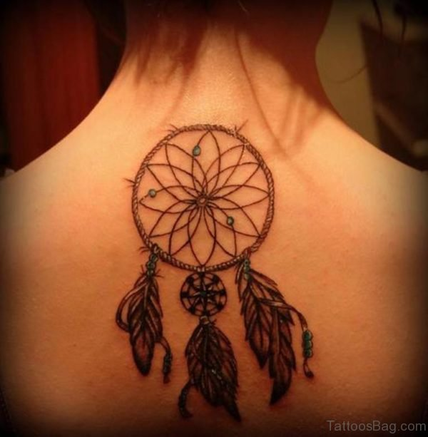 Dreamcatcher Tattoo Design On Upper Back