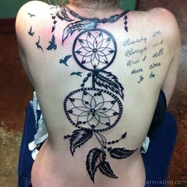 Dreamcatcher Tattoo On Back Body