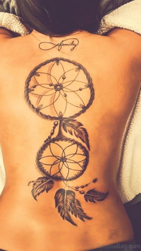 Dreamcatcher Tattoo On Back For Women