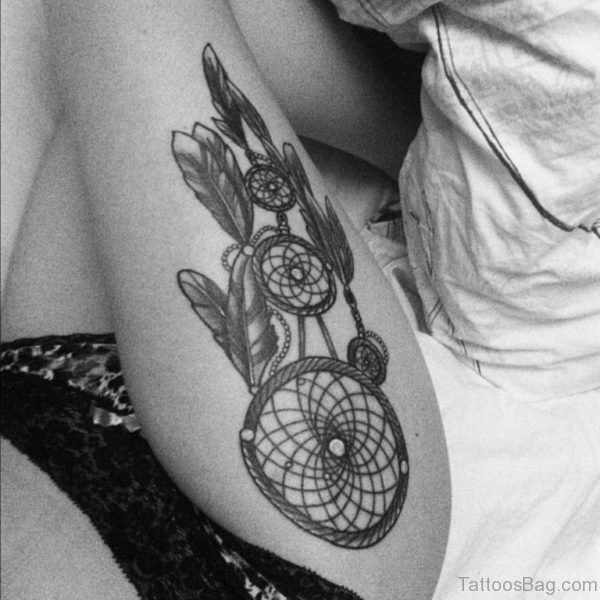 Dreamcatcher Tattoo On Right Side Thigh