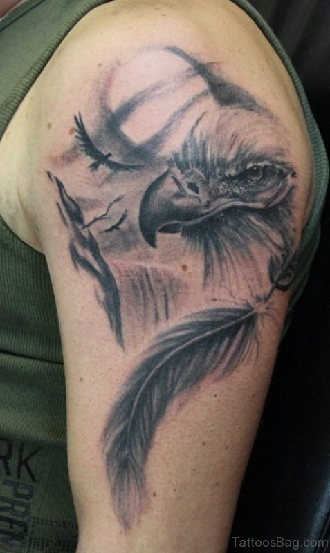 Eagle And Feather Tattoo