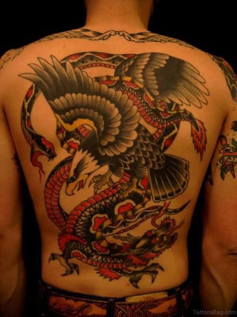 Eagle And Snake Tattoo On Back