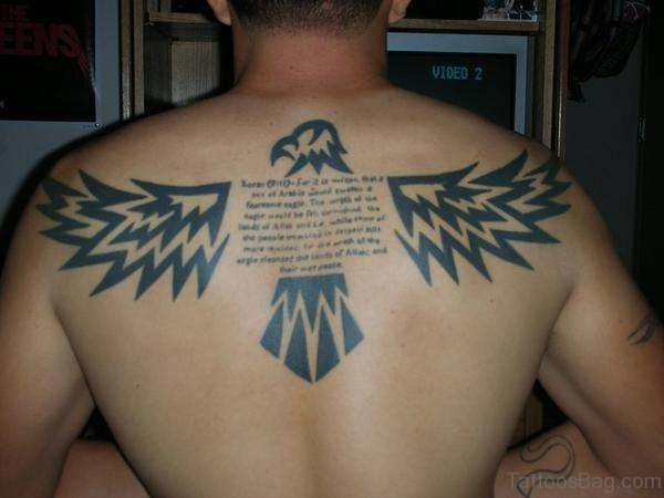 Eagle And Wording Tattoo
