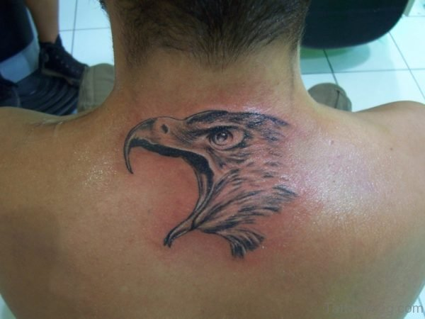 Eagle Head Tattoo On Upper Back