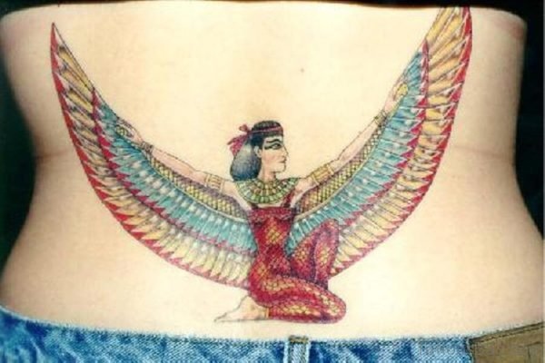 Egyptian Queen Tattoo On Lower Back