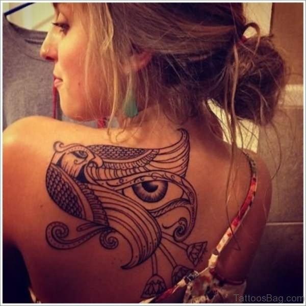 Egyptian Tattoo On Left Back Shoulder