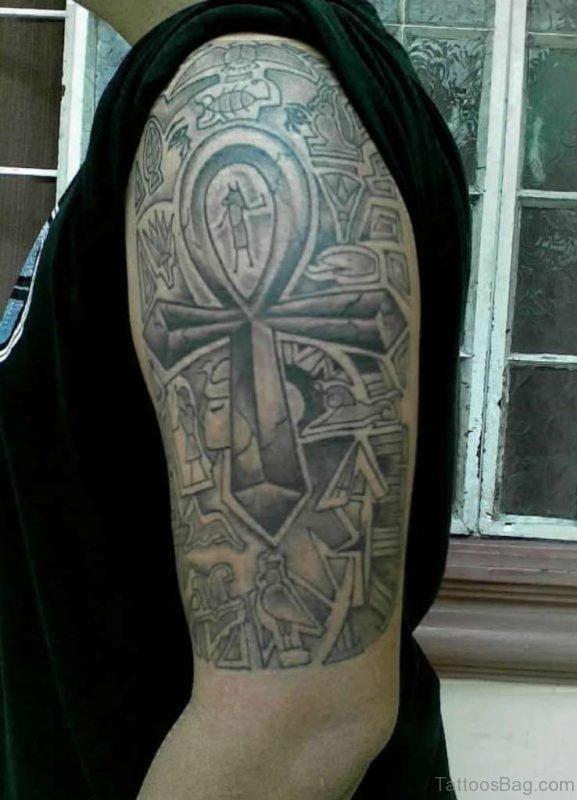 Egyptian Tattoo On Left Half Sleeve
