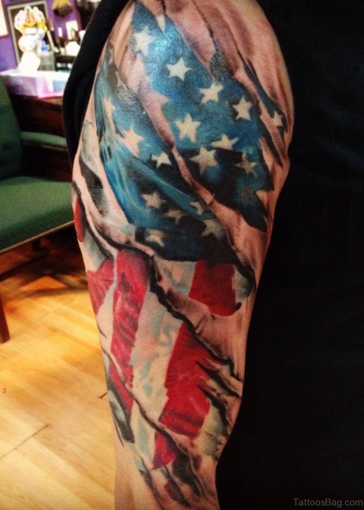 53 Top Flag Tattoos On Shoulder