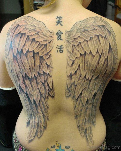 Elegant Angel Wings Tattoo On Full Back