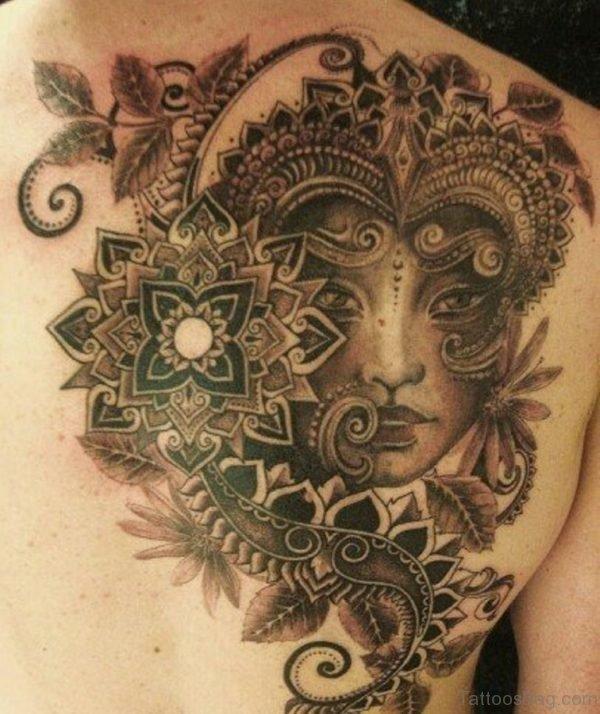 Elegant Aztec Tattoo On Back
