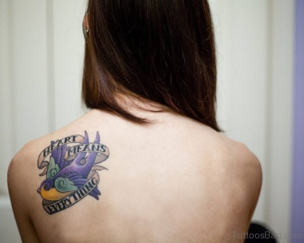 Elegant Bird Tattoo On Back