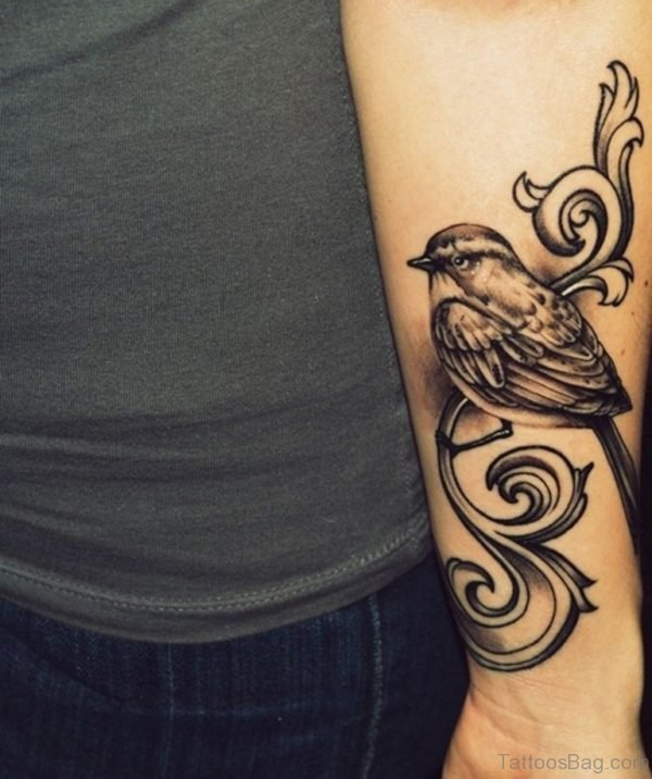 Elegant Bird Tattoo On Wrist