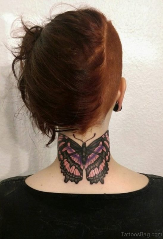 Elegant Butterfly Tattoo On Neck Back